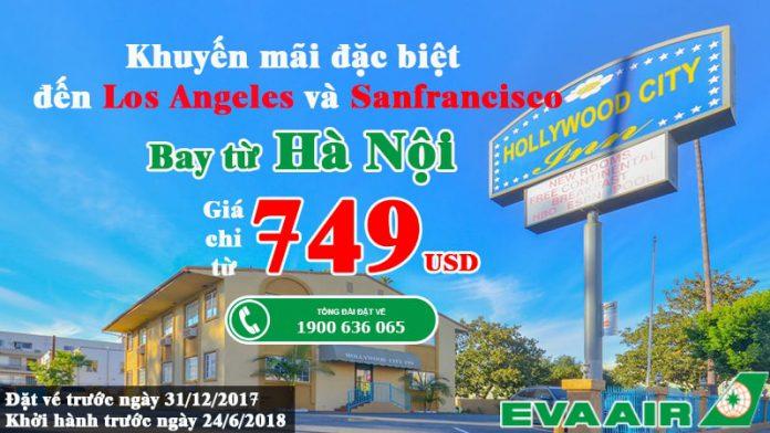 Eva Air KM vé rẻ đến Mỹ năm 2017