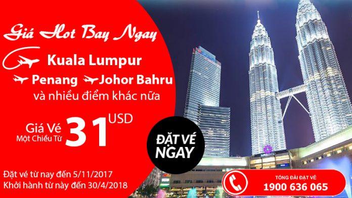 Ưu đãi khi bay cùng Air Asia - vé chỉ từ 31 USD/ chiều