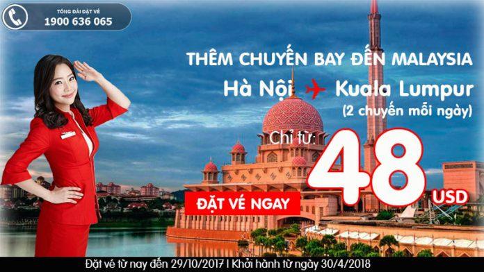 Air Asia KM vé Hà Nội - Kuala Lumpur giá rẻ tháng 10