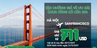 Eva Air KM vé máy bay đi Mỹ giá rẻ chỉ từ 711 USD