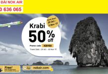 Nok air ưu đãi vé cho hành trình bay Krabi tiết kiệm