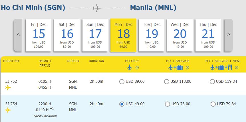 Hành trình HCM - Manila
