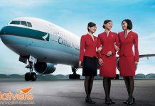 KM đi Mỹ của Cathay Pacific cho hạng ghế Thương gia.