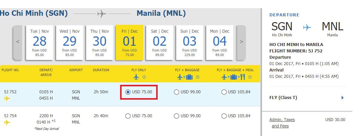 Hành trình HCM - Manila.