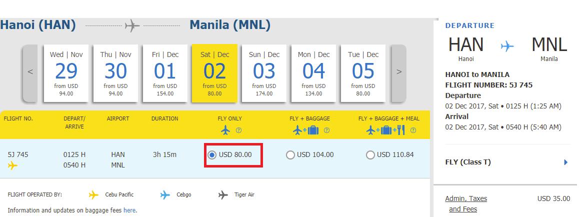 Hành trình Hà Nội - Manila giá rẻ