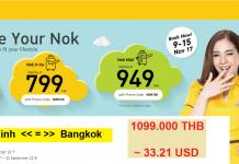 Nok Air KM vé máy bay đi Thái Lan giá rẻ từ VN
