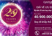 Kỉ niệm 20 năm - Bay cùng Qatar Airways, giá vé khứ hồi ưu đãi