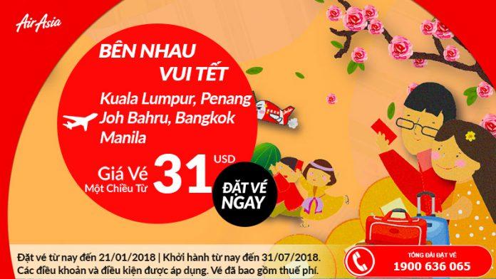 Air Asia mở bán vé 1 chiều chỉ từ 31 USD