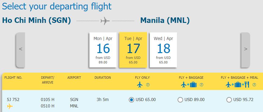 Vé máy bay từ Hồ Chí Minh đi Manila
