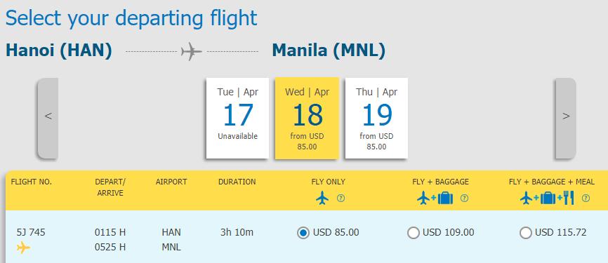Vé máy bay từ Hà Nội đi Manila giá rẻ