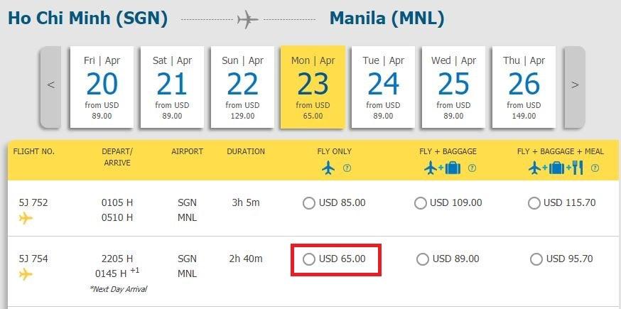 Mẫu giá vé đi Manila từ TPHCM khuyến mại của Cebu