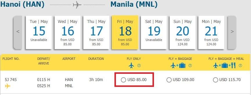 Mẫu giá vé đi Manila khuyến mại của Cebu