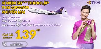 Đặt vé Thai Airways khứ hồi từ 139 USD