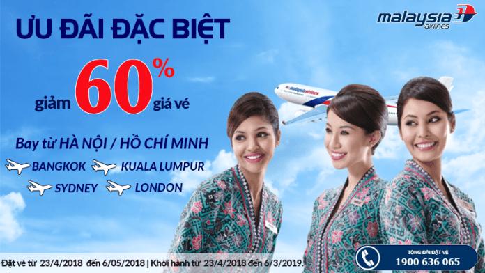 Malaysia Airlines giảm giá vé đến 60%